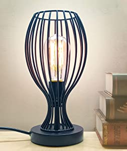 Industrial Table Lamp, Edison Lamps, Metal Industrial Bedside Lamp with Plug in Cord On/Off Switch, Bulb Included, E26/E27 Vintage Desk Lamp for Home Lighting Decor