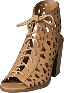 9f3f198801a10 Amazon.com   Free Reign Lace Up Open Toe Block Heel Cute Booties ...