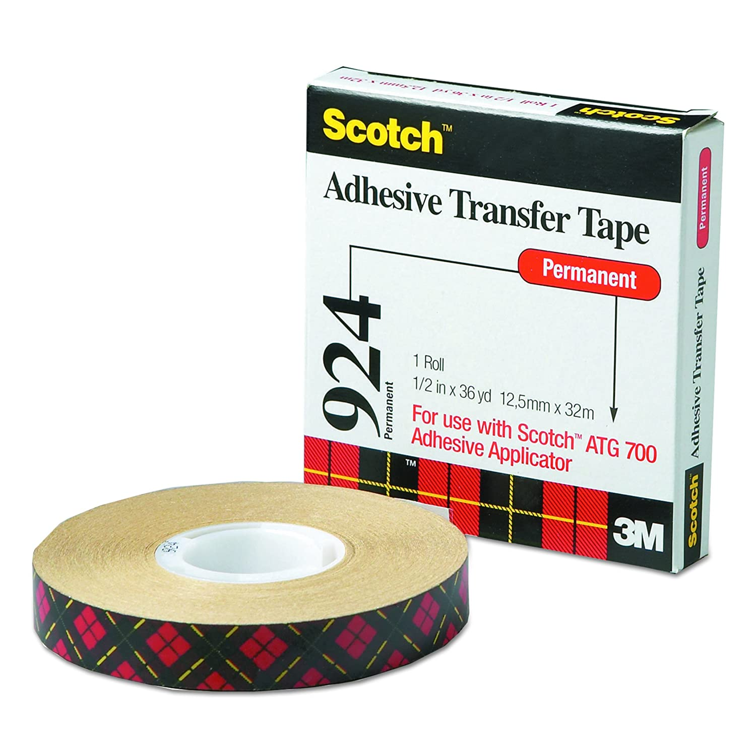 """NEW SCOTCH ATG ADHESIVE TRANSFER TAPE# 969 1//2/"""" WIDE ROLL 18 YD B"""