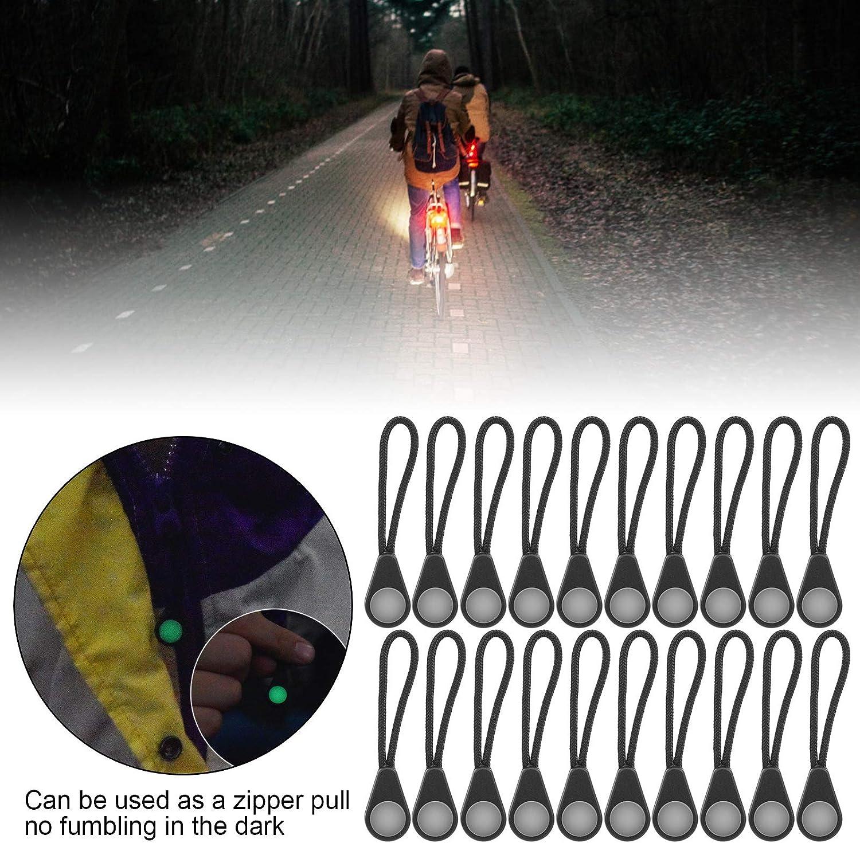 DAUERHAFT Ligero y Luminoso Tirador de Cremallera port/átil 20 Piezas de Cuerda con Cremallera Duradero para monta/ñismo al Aire Libre Camping para Chaquetas Cremalleras de Tienda Mochilas