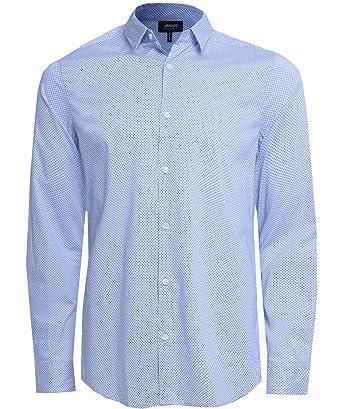 89d4a7798cc Armani Jeans Hommes Slim fit chemise à pois Bleu Clair XL  Amazon.fr ...