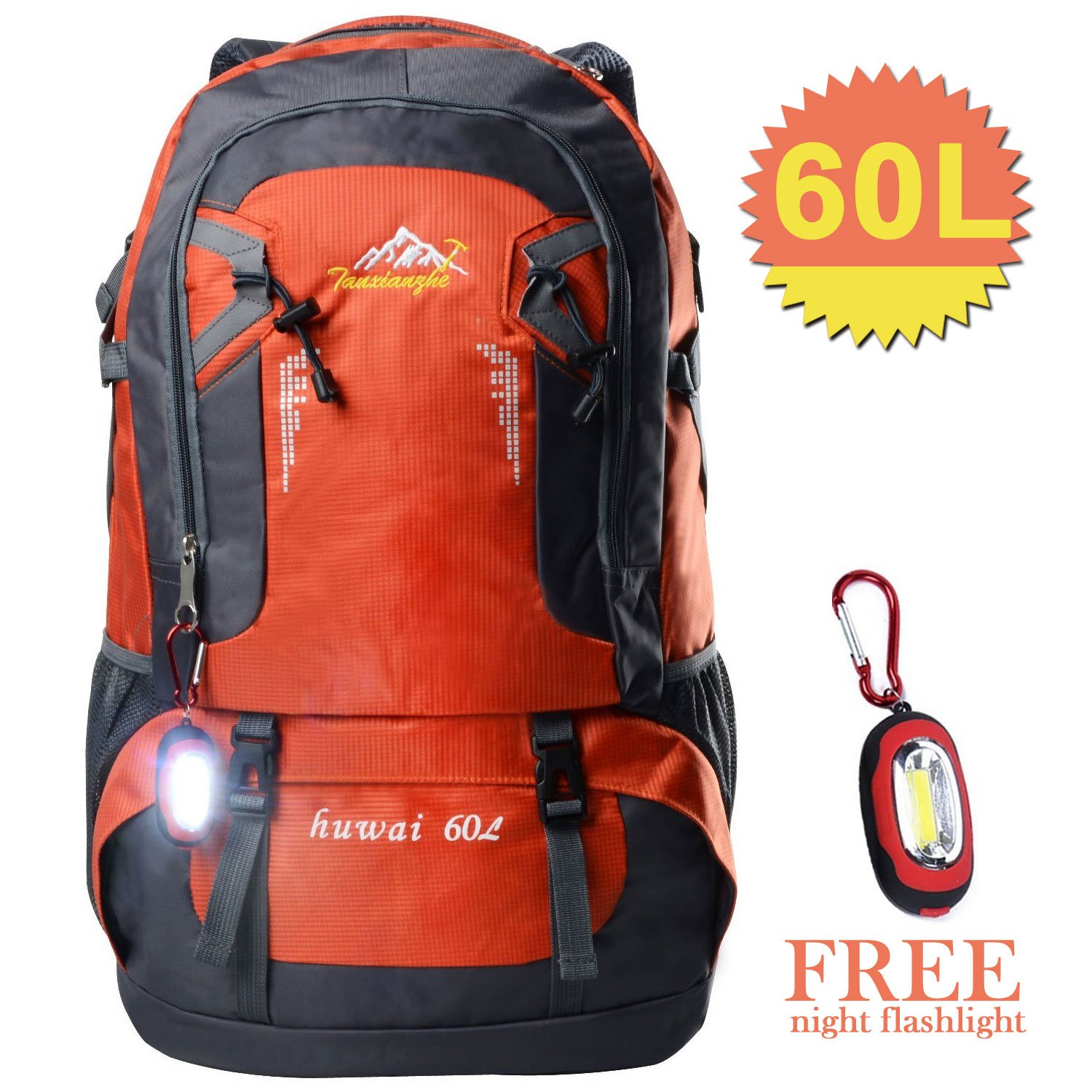 Waterproof Hiking Backpacks, Women and Men Lightweight Travel Daypack Sports Bag for Outdoor Travel Camping Climbing (orange 60L)