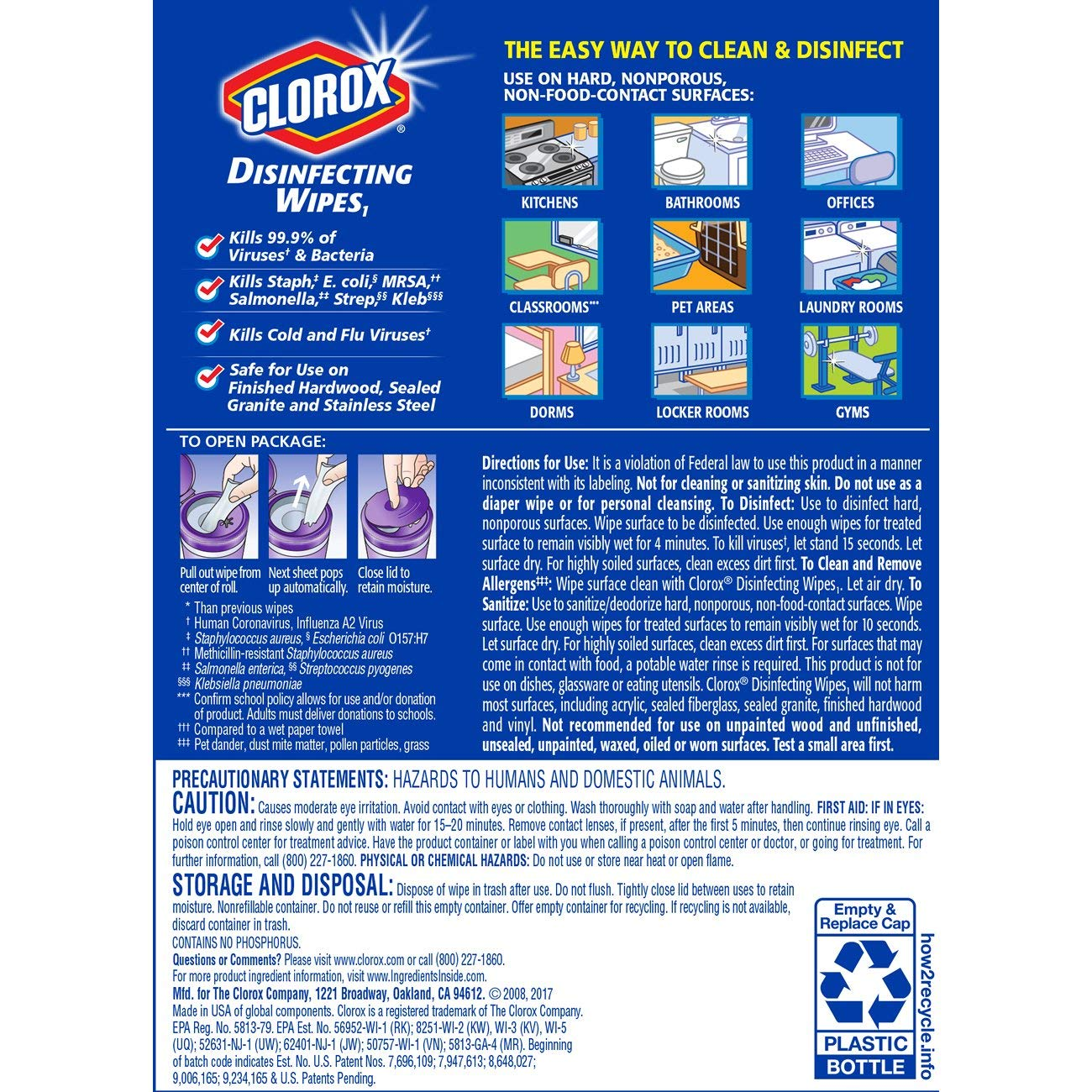 Clorox Disinfecting Wipes, Bleach Free Cleaning Wipes - Fresh Lavender, 75 Count (Pack of 6) by Clorox (Image #8)