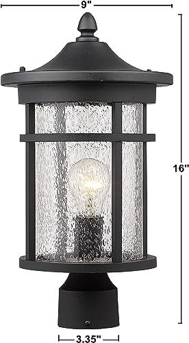 Bestshared Outdoor Post Light, 16 Height Exterior Post Lighting Fixture, Outdoor Patio Post Lantern for Pathway, Driveway, Front Back Door Black,1 Pack