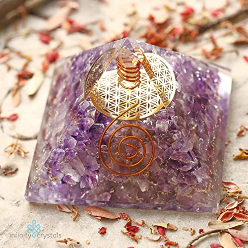 Healing Chakra Pyramid for EMF Crystal Protection stress relief Amethyst ORGONE Energy Generator with FLOWER OF LIFE for Prosperity, abundance- Gold Flower of Life and Quartz Point for meditation.