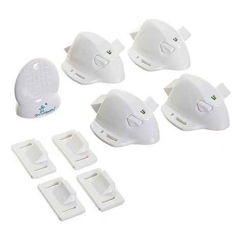 Dreambaby - Cerraduras de seguridad magnéticas adhesivas, 4 cerraduras y 1 llave, Blanco