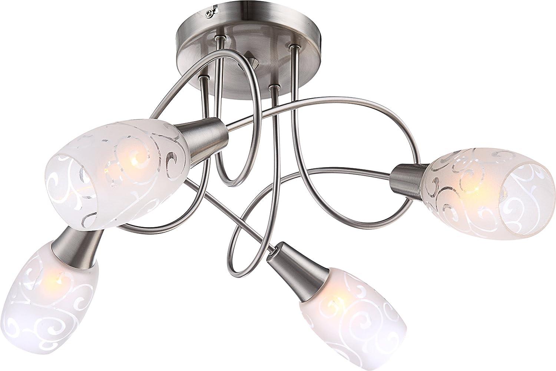 Globo - Plafoniera a 4 punti luce, modello Florita [Classe di efficienza energetica A++] 54984-4D