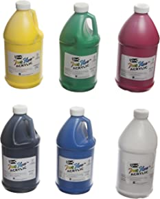 Sax True Flow Heavy Bodied Acrylic Paint - 1/2 Gallon - Set of 6 - Assorted Colors