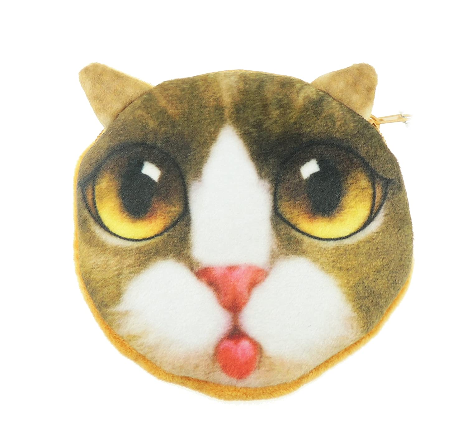 Adorable Cat Lovers Face Small Coin Change Purse (Beige Big Eyes)
