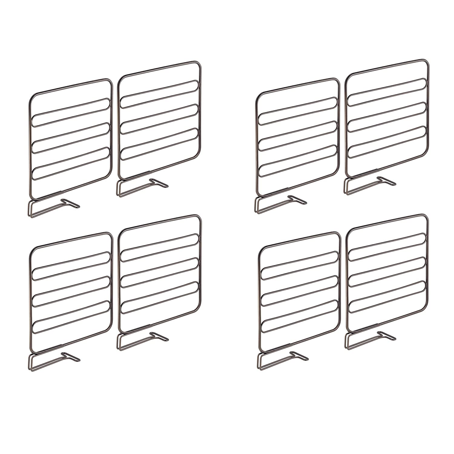 mDesign Versatile Metal Wire Closet Shelf Divider and Separator for Storage and Organization in Bedroom, Bathroom, Kitchen and Office Shelves - Easy Install - 4 Pack - Chrome MetroDecor 3503MDCO