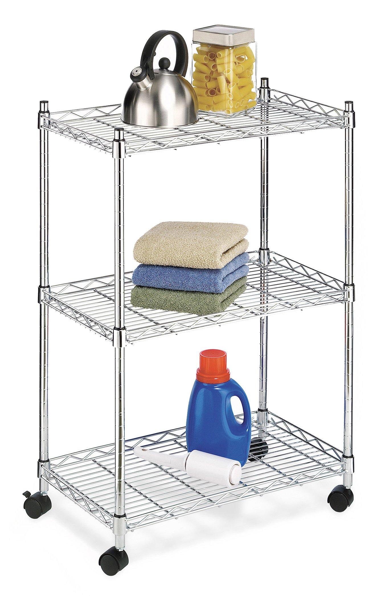 Whitmor 6056-344-N Supreme 3 Tier Cart - Rolling Utility Organizer - Chrome