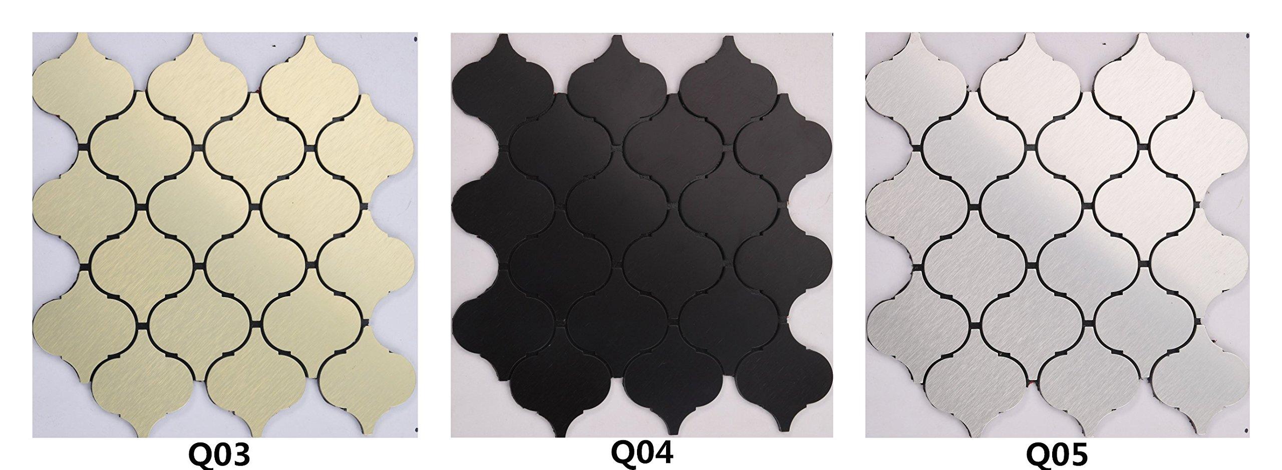 Peel and Stick Metal Backsplashes, Brushed Black Aluminum Self-adhesive wallpaper- Q04 (5PCS 5.38Sq.ft)
