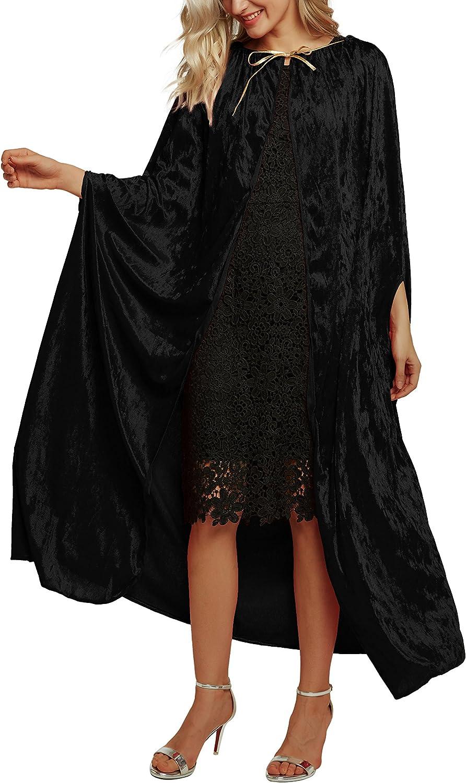 Urban CoCo Women's Costume Full Length Crushed Velvet Hooded Cape