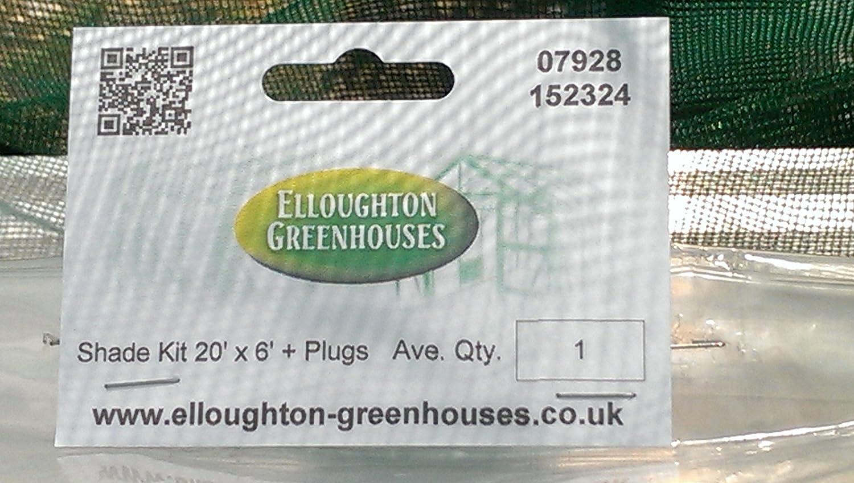 20 x 6 Genuine Elite Greenhouses Shading Material with 50 Super Elloplugs/™ Greenhouse Shading Kit