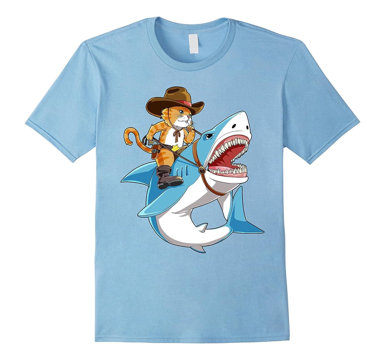 f5cb8627 Cat Riding Shark T-shirt Funny Kitty Kitten Cowboy hat Gifts-RT