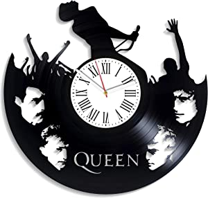 Kovides Home Decor Queen Rock Music Band Vintage Vinyl Record Clock Xmas Gift Idea Freddie Mercury Wall Clock Minimalist Queen Music Decor for Living Room Birthday Gift for Girl
