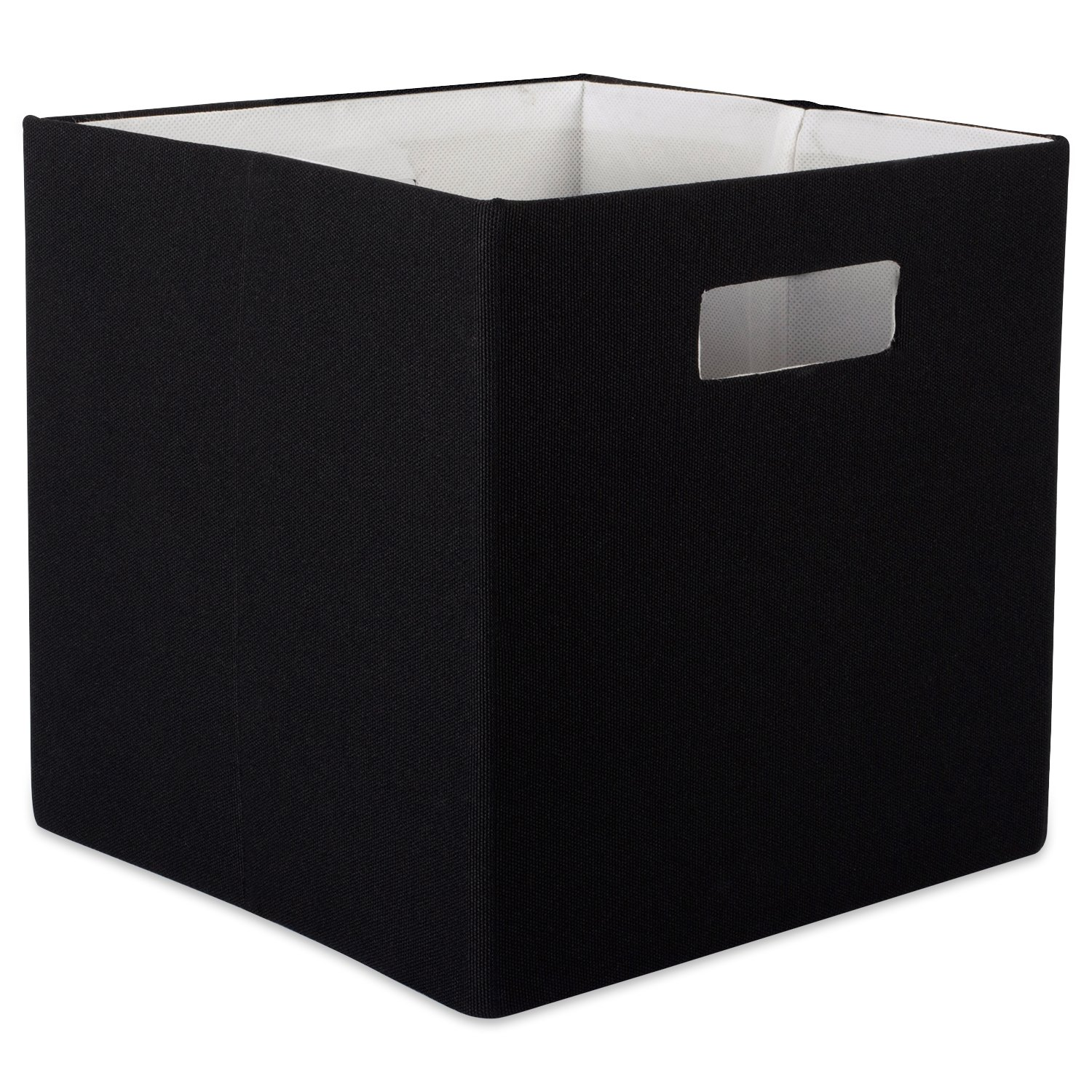"""DII Hard Sided Collapsible Fabric Storage Container for Nursery, Offices, & Home Organization, (13x13x13"""") - Solid Black"""