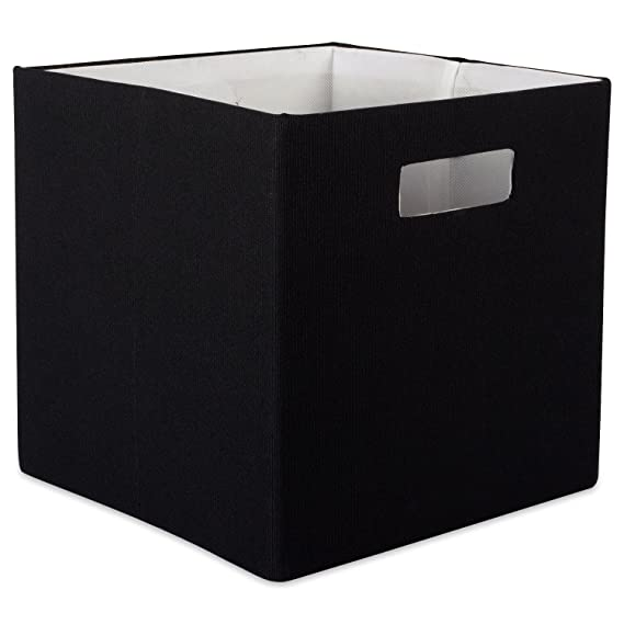 "Dii Hard Sided Collapsible Fabric Storage Container For Nursery, Offices, & Home Organization, (13x13x13"")   Solid Black by Dii"