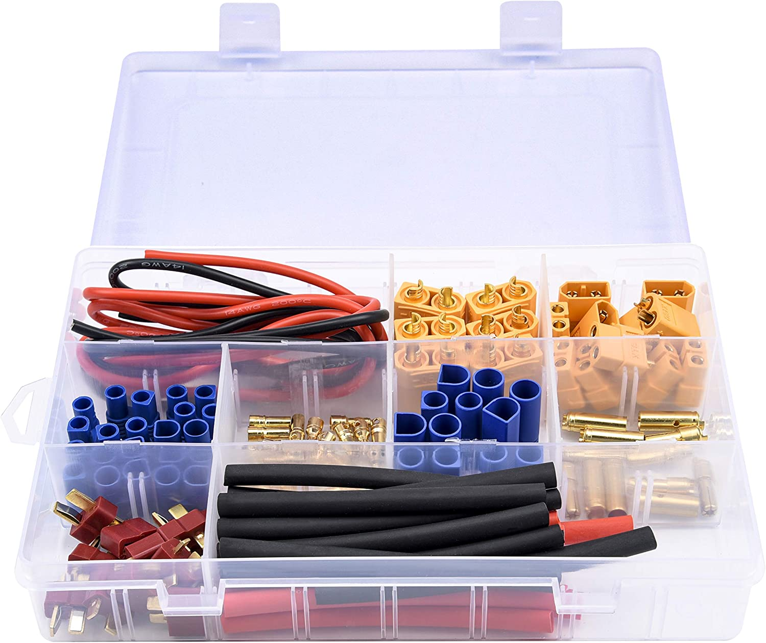 Readytosky XT60//XT90//EC3//EC5//T-Plug Male /& Female Connector Adapters Kit+14AWG Silicone Wire and Shrink Tubing for RC ESC Motor Lipo Battery 70PCS