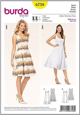 Burda 6758 Schnittmuster Kleid mit Saumblende (Damen, Gr. 34 - 44 ...