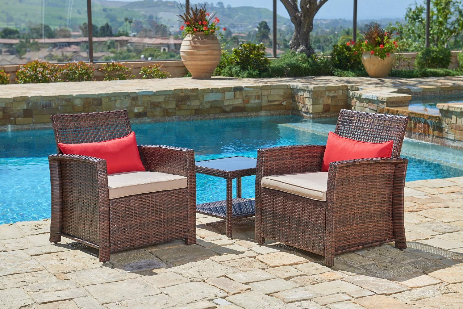Suncrown outdoor wicker chairs with glass top table 3 piece all weather patio furniture thick durable cushions with washable covers porch backyard