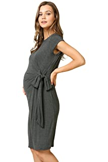 b56215709a00b My Bump Women's Side Bow Tie Cap Sleeve Solid Color Maternity Dress(Made in  USA