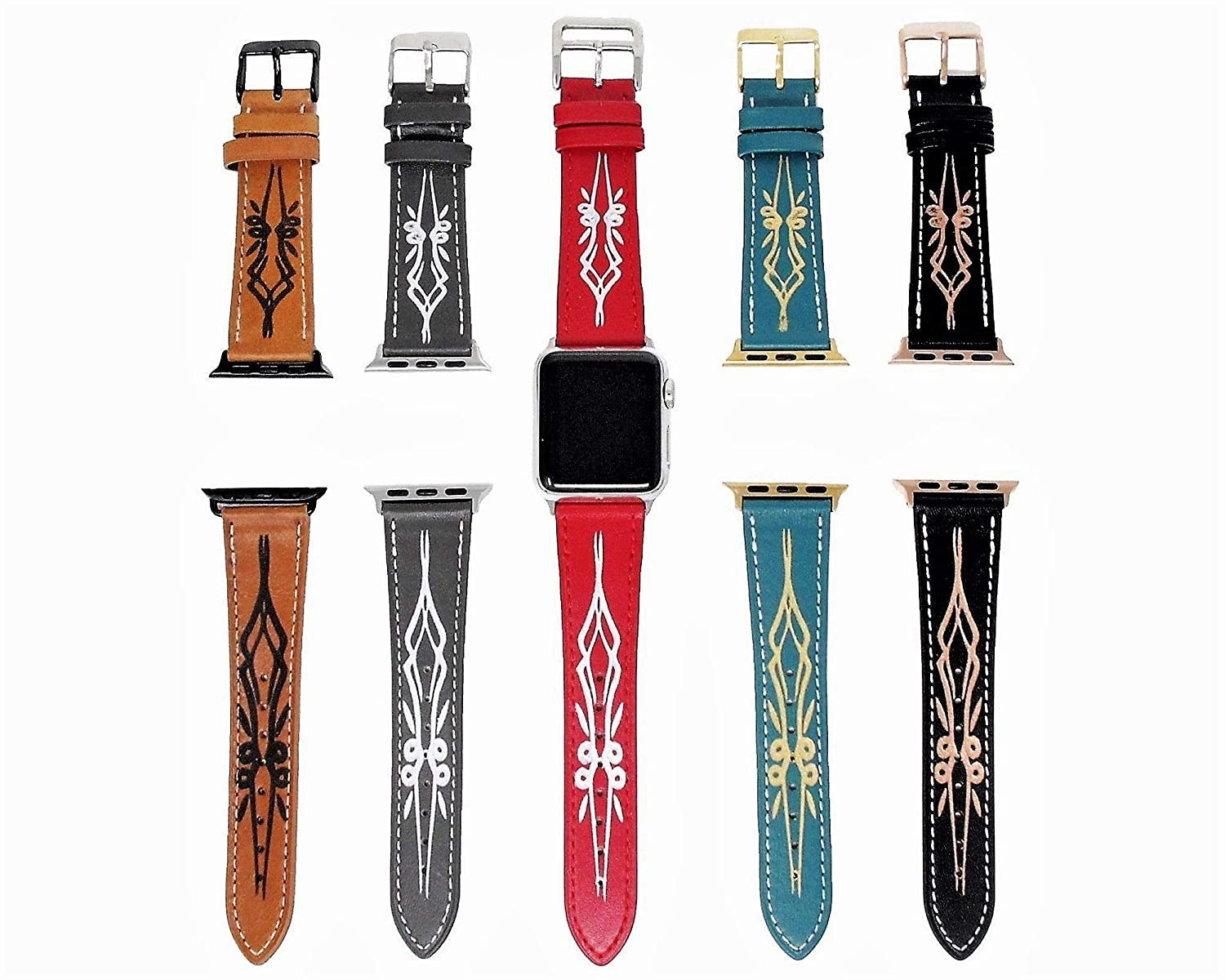 Amazon Com Floral Leather Apple Watch Band 38mm 40mm 42mm 44mm