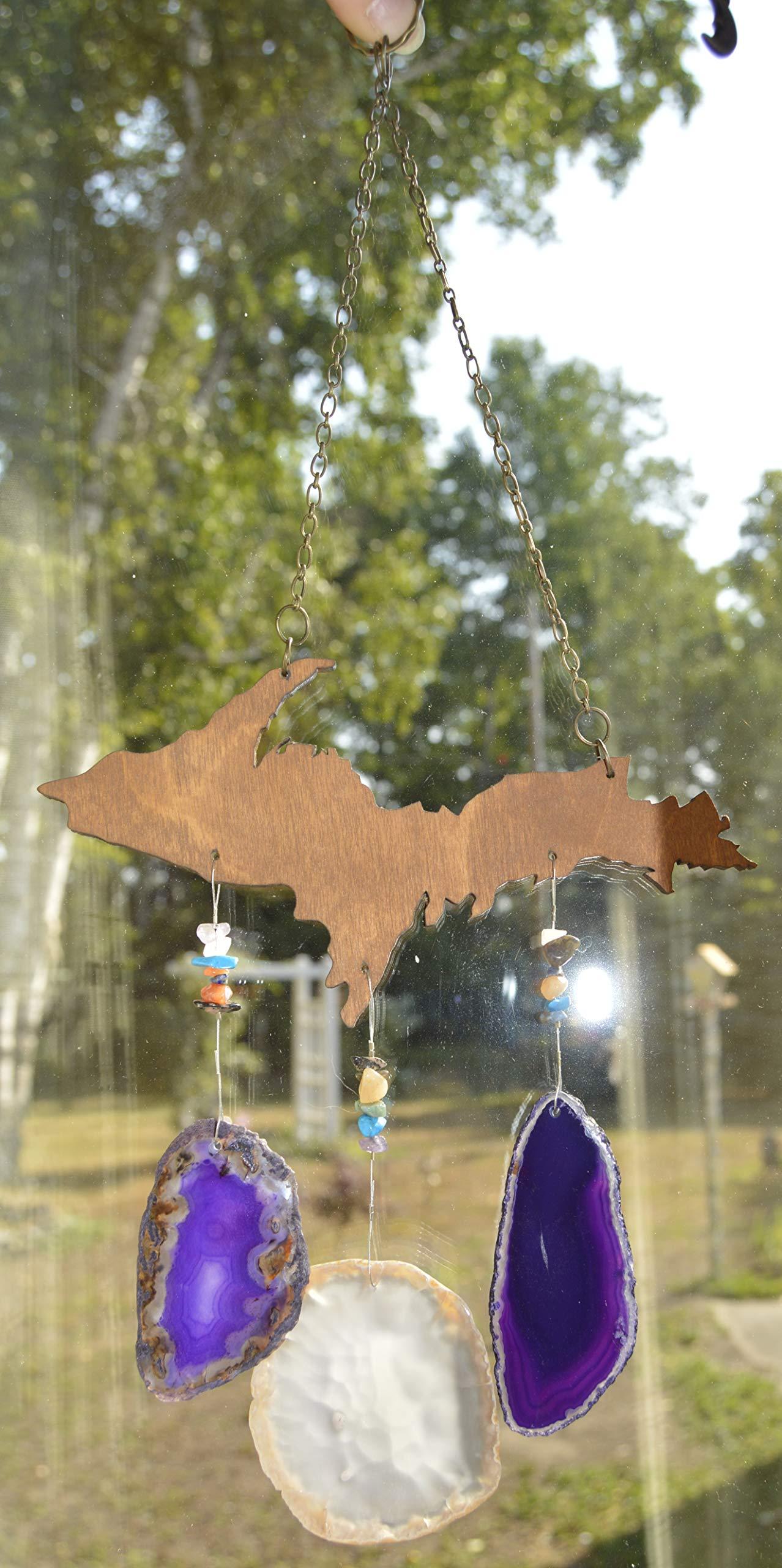 wind chime Purple and cream Agate slice geode windchime Michigan Upper peninsula U P wood stone sun catcher wind chime mobile window decor hanging