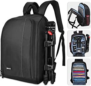 "Yesker Large Camera Backpack Bag 17.8x11.8 Camera Case with Laptop 15.6"" Pocket 8 Flexible Padded Shockproof Insert Protection for SLR DSLR Mirrorless Cameras and Lenses, Flash Light, Radio Triggers"