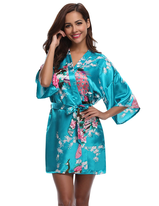 Aibrou Womens Kimono Robe Satin Peacock Bathrobe Short Silk Bridal Robe  AM16062402 e52d303b3