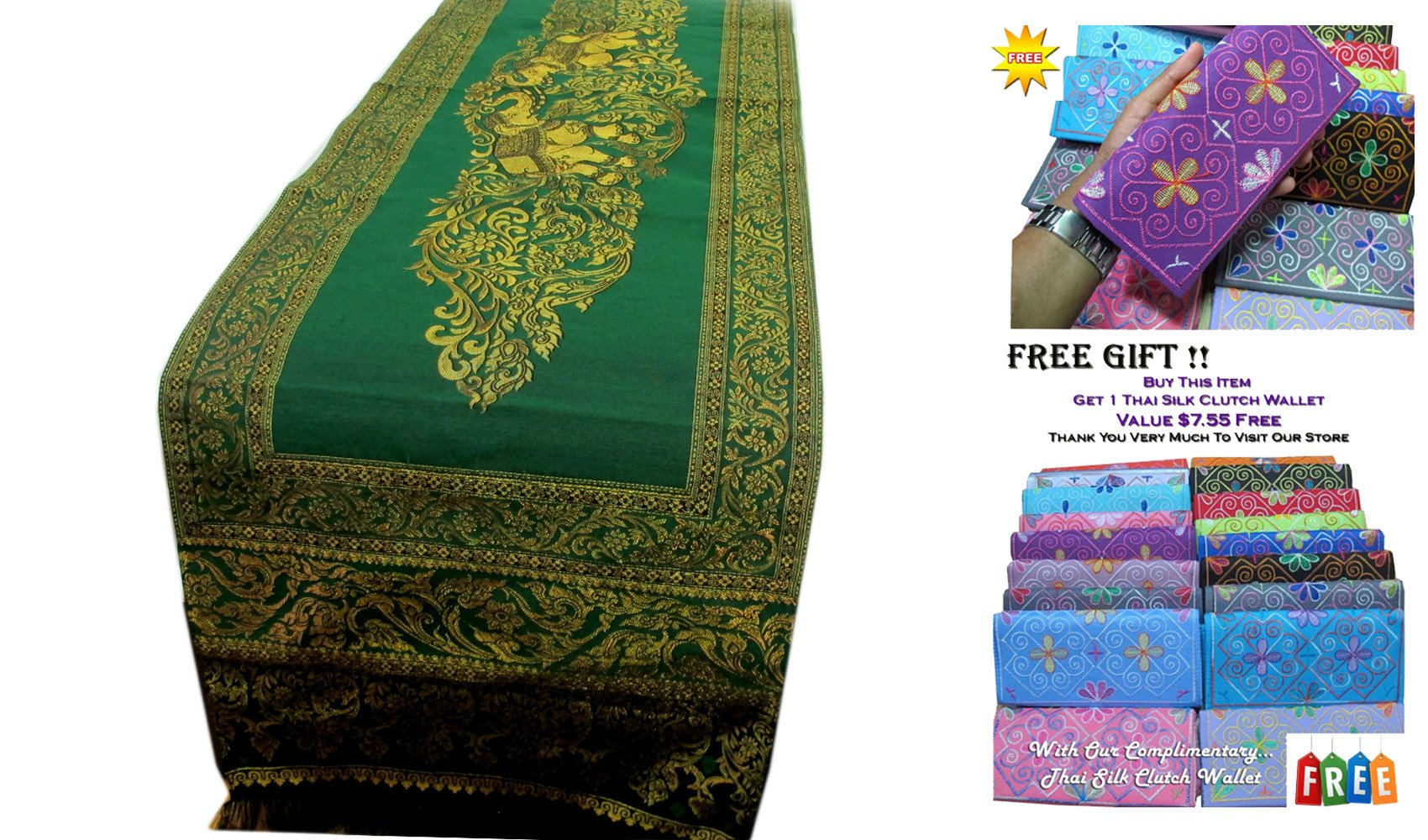 ''HitHot'' BEAUTIFUL THAI SILK TABLE/BED RUNNER