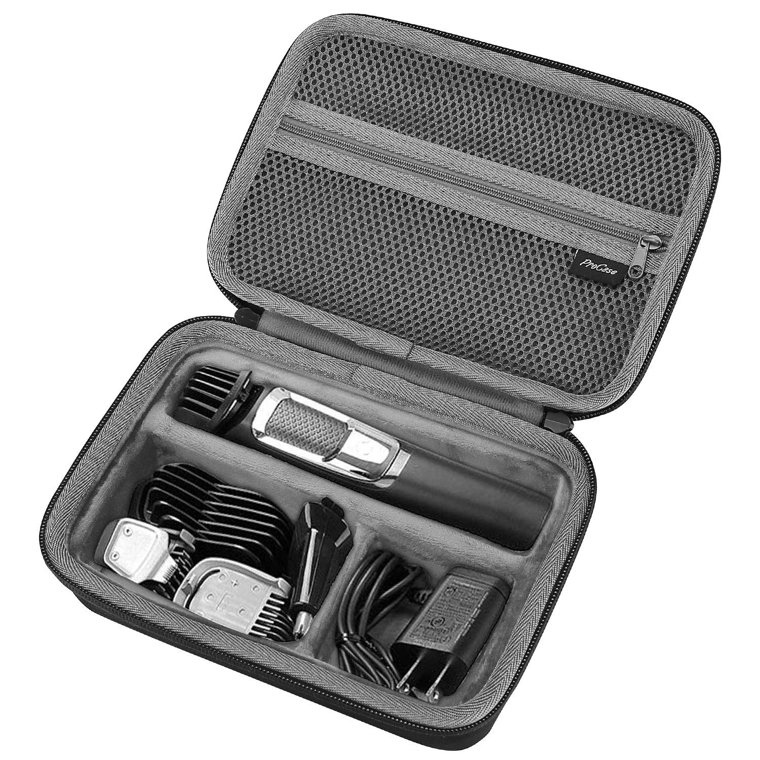 ProCase Hard Travel Case for Philips Norelco Multigroom Series 3000 5000 7000 MG3750 MG5750/49 MG7750/49 Men's Electric Trimmer Shaver and Attachments -Black