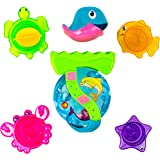 Toysery Best Bath Toy for Kids, Babies and Toddlers - Sea Animals Bath Stacking Cups - Kids Bath Time Play Set (Multi-Colour)
