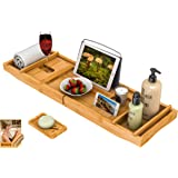 Bath Caddy Tray for Bathtub - Bamboo Adjustable Organizer Tray for Bathroom with Free Soap Dish Suitable for Luxury Spa…