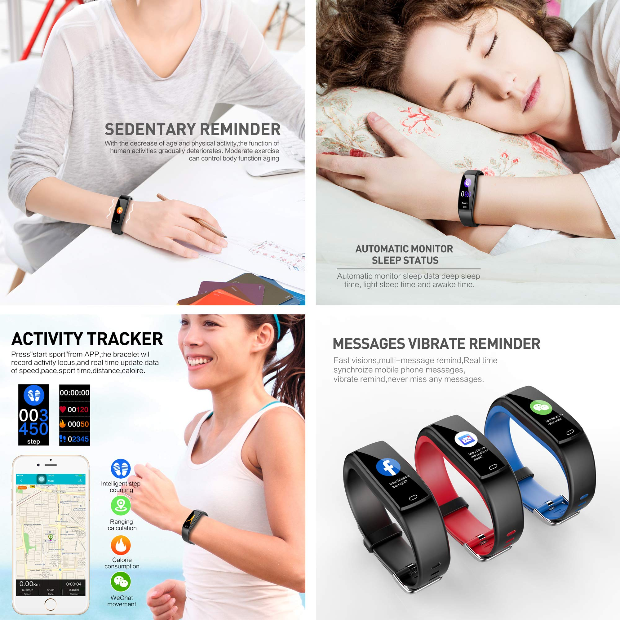 Mgaolo Fitness Tracker HR, Activity Tracker Waterproof Smart Watch Wristband with Heart Rate Blood Pressure Pedometer for Android and iPhone (Gray) by Mgaolo (Image #6)
