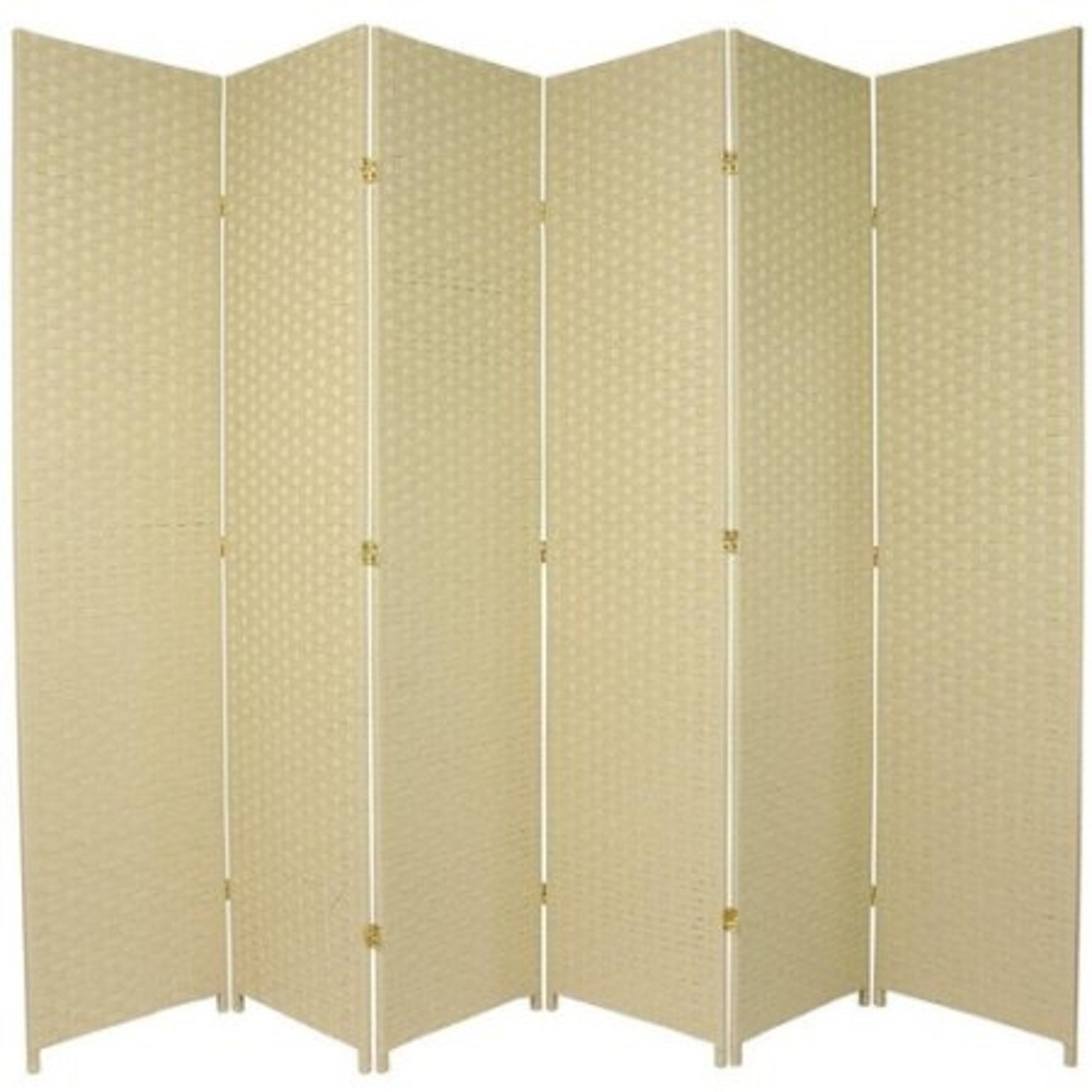 Natural Plant Fiber Woven Room Decor Cream 6 Panels Divider by Roman Shade Unlimited