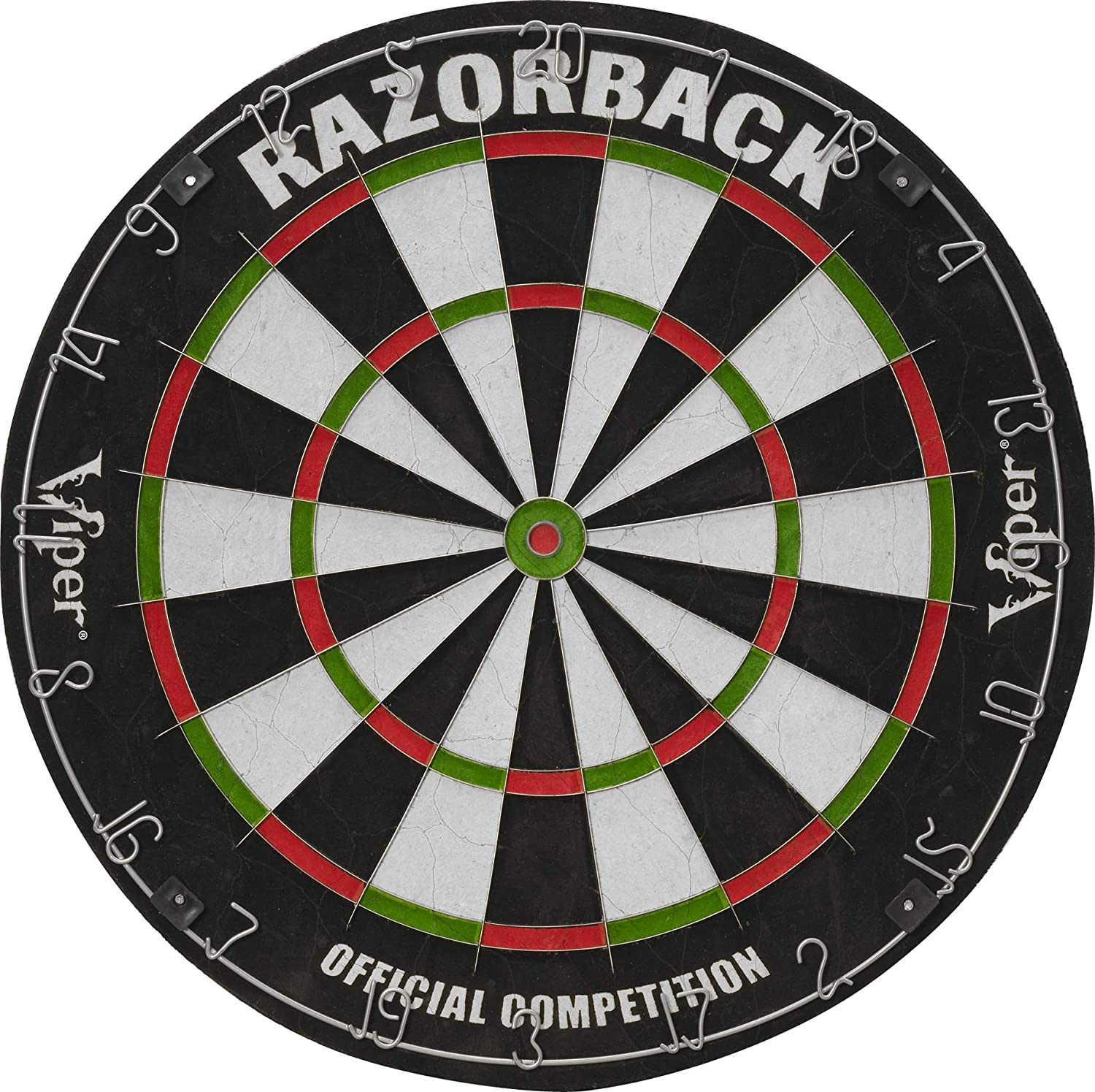 Viper Razorback Official Competition Bristle Steel Tip Dartboard Set with Staple-Free Razor Thin Metal Spider Wire for Increased Scoring, Reduced Bounce Outs; Self-Healing Premium-Grade Sisal Board : Board Games : Sports & Outdoors