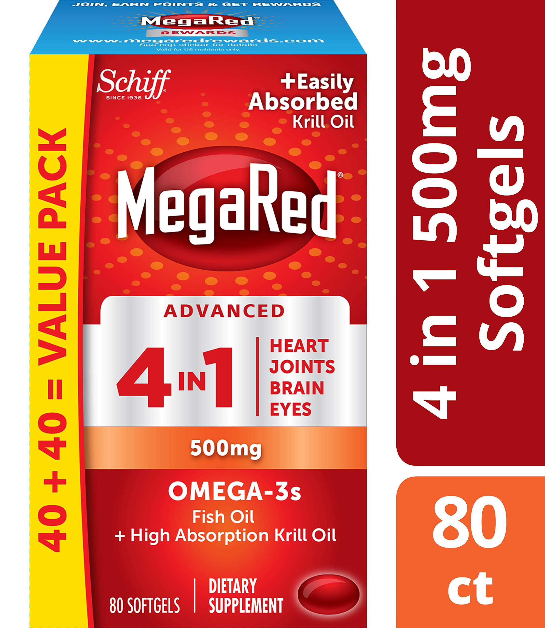 Omega-3 Fish Oil + High Absorption Krill Oil 500mg Softgels, MegaRed Advanced 4in1 (80 count in a bottle), Concentrated Omega-3 Fish & Krill Oil Supplement by Megared