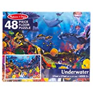 Melissa & Doug Underwater Floor Puzzle (Extra-Thick Cardboard Construction, Beautiful Original Artwork, 48 Pieces, 2′ × 3′, Great Gift for Girls and Boys - Best for 3, 4, 5, and 6 Year Olds)