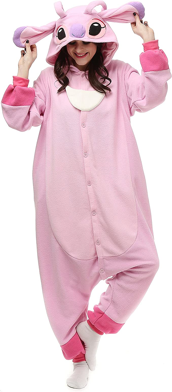 Amazon Com Vu Roul Halloween Costume Adult Outfit Stitch Onesie Women S Pajamas Pink Clothing