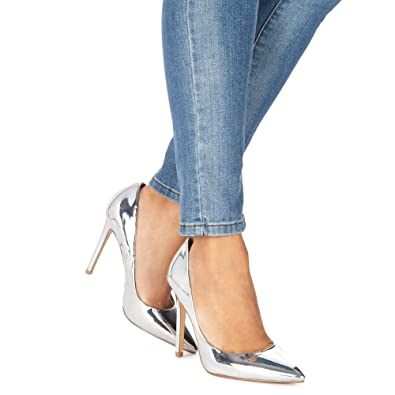 Silver 'Chloe' high heel wide fit pointed shoes buy sale online free shipping cheap quality EyF82gQR