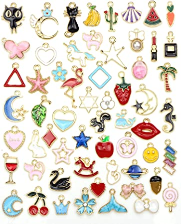 90 Pcs Charms for Bracelets Jewelry Making Assorted Fruits Animals Moon Star Enamel Pendants Gold Plated Ornaments for Necklace Earring DIY Charm Bracelet Supplies
