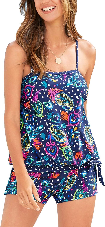 Ecupper Womens 2 Piece Tankini Set with Shorts Floral Printed Boho Bandeau Swimwear Casual Beachwear Swimsuit