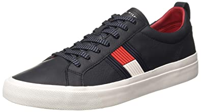 3cf81b58bb2fd TOMMY HILFIGER Men s Flag Detail Leather Midnight Sneakers-10.5 UK India  (45 EU