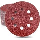 Sandpaper Set 100Pcs, 5 inch 8 Holes Sanding Discs for Orbital Sander, 5 Different Grades Including 60, 80, 100, 120…