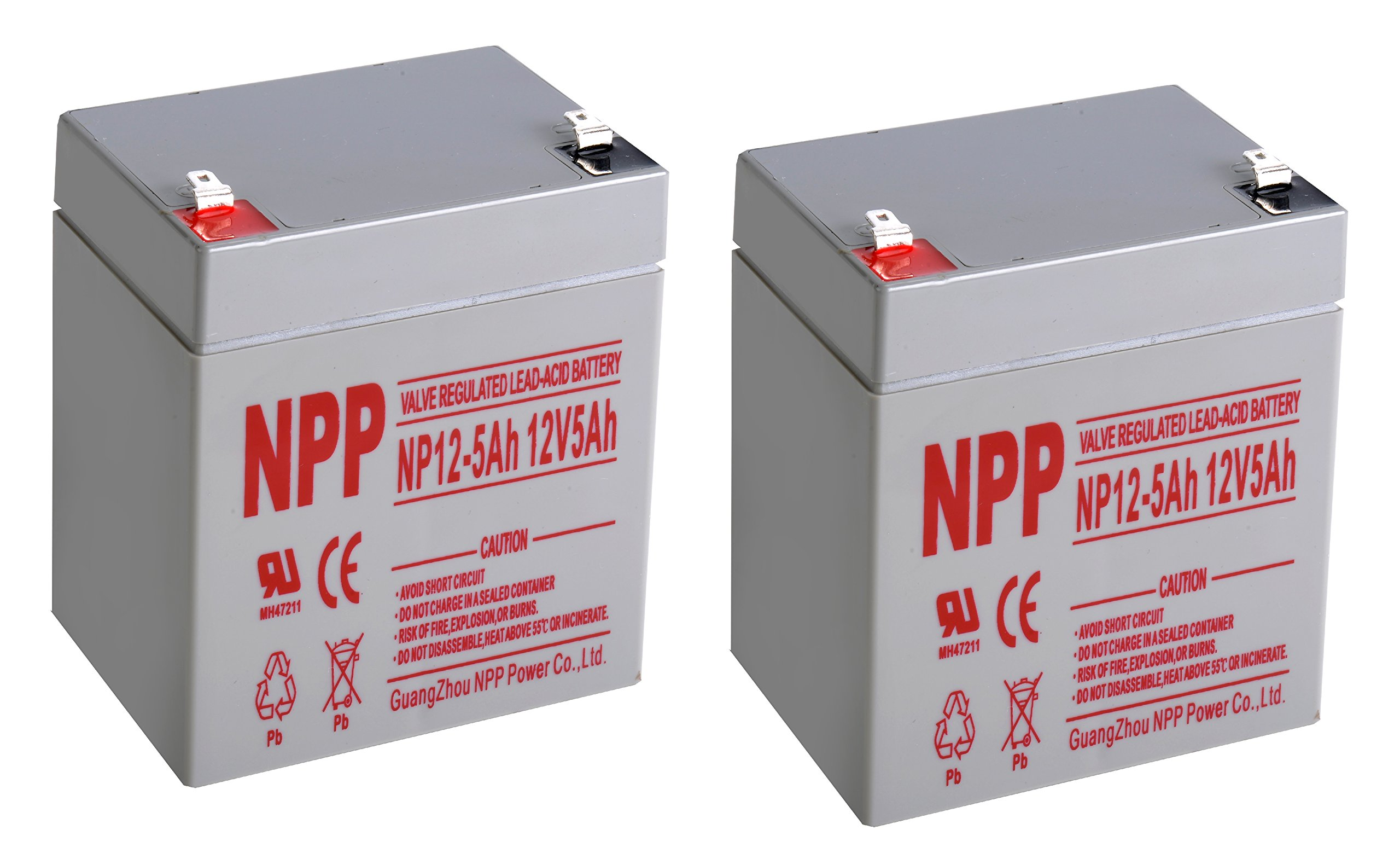 NPPower NP12-5Ah SLA Sealed Lead Acid 12 Volt 5Ah Battery With F1 Style Terminals/(2pcs)