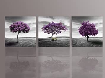Merveilleux Nuolan Art   Canvas Print 3 Panels PURPLE TREES Modern Landscape Framed Canvas  Wall Art