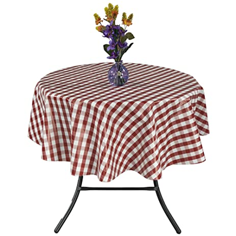 Ottomanson Vinyl Red Checkered Design 55u0026quot; Round Indoor U0026 Outdoor  Non Woven Backing Tablecloth