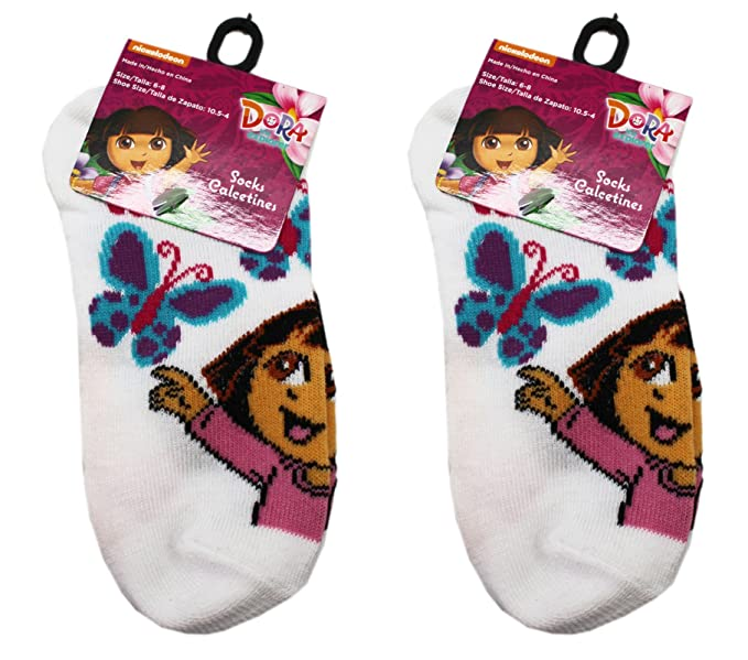 2 Pairs White Dora the Explorer Butterfly Kids Socks (Size 6-8)