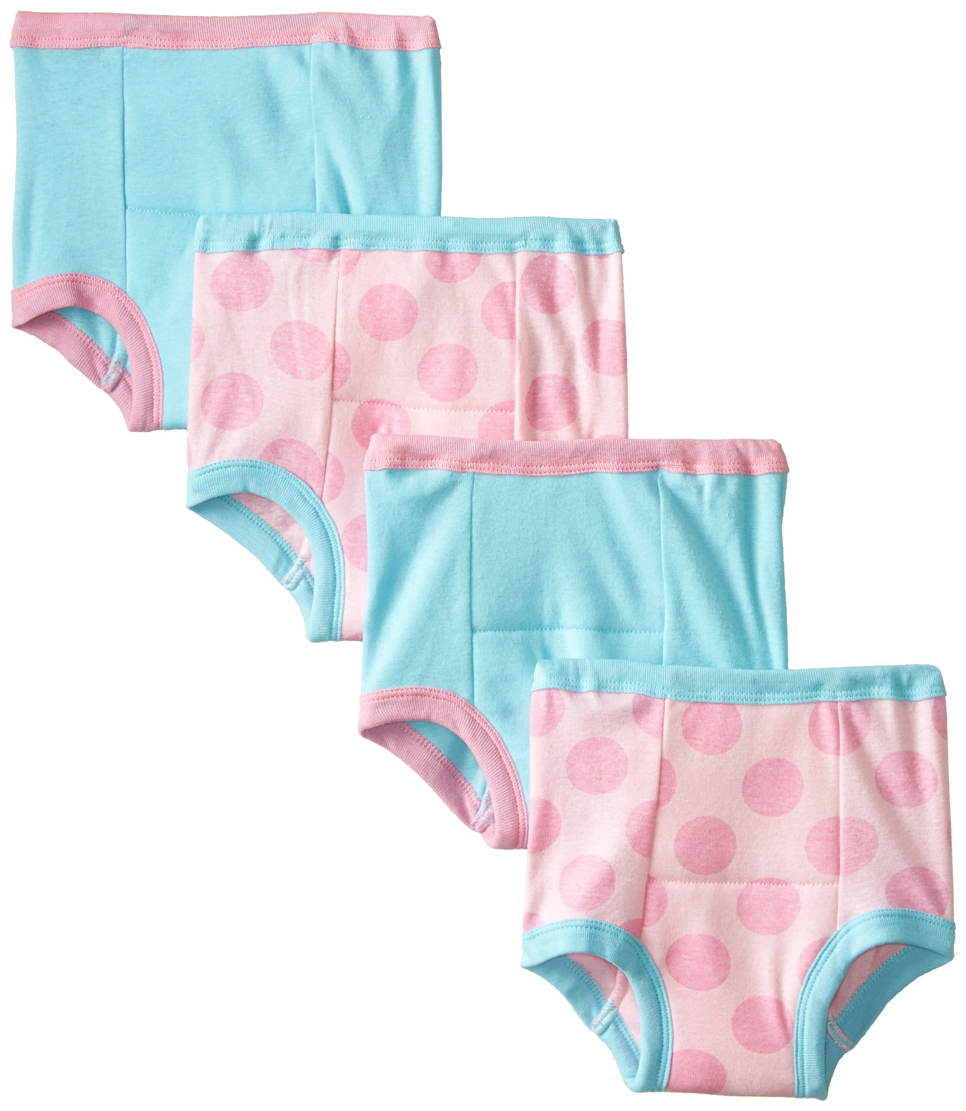 Gerber Toddler Girls' 4 Pack Training Pants, Blue/Pink Dots, 2T